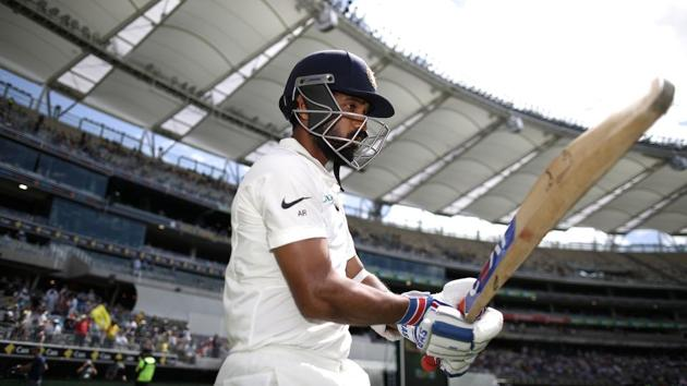 Ajinkya Rahane of India walks out to bat.(Getty Images)
