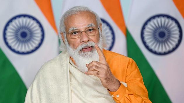 Prime Minister Narendra Modi speaks during at the centenary celebrations of Visva-Bharati University through video conference in New Delhi on Thursday.(ANI Photo)