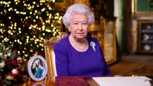 Britain's Queen Elizabeth II records her annual Christmas broadcast in Windsor Castle, Berkshire, Britain December 24, 2020.(REUTERS)