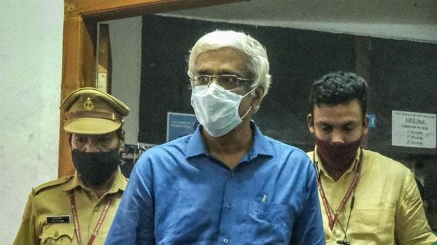 Suspended IAS officer M Sivasankar arrives at Economic Offenses Court to record his statement in the Kerala gold smuggling case, in Kochi, Monday, Dec. 7, 2020.(PTI)