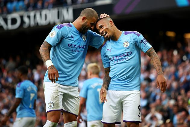 Gabriel Jesus and Kyle Walker of Manchester City.(Getty Images)