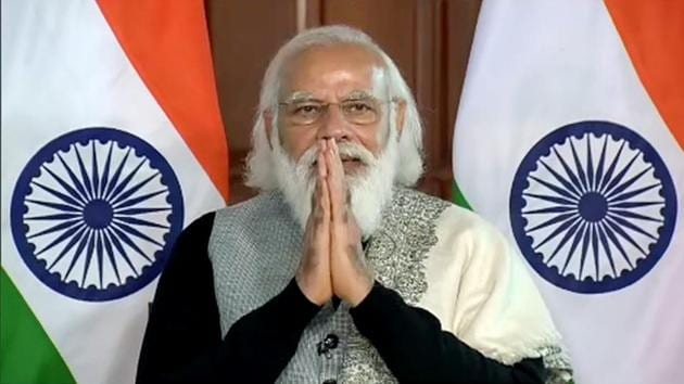Prime Minister Narendra Modi on Friday releases Rs 18,000 crore under the PM Kisan Samman Nidhi scheme via video conference in New Delhi.(ANI)