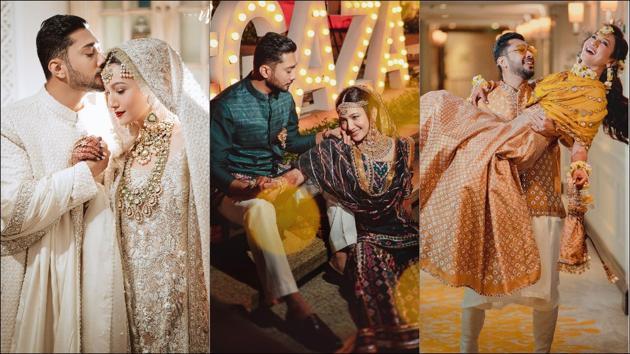 Gauahar-Zaid's 'dream nikah outfit' to stunning mehendi-sangeet look(Instagram/gauaharkhan)