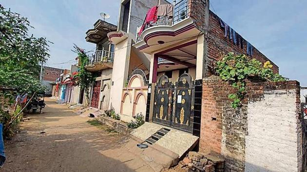 A view of the house in Chitrakoot where the crimes allegedly took place.(HT Photo)