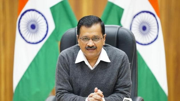 Delhi Chief Minister Arvind Kejriwal addressing a press conference at his residence in New Delhi, India. (HT Photo)