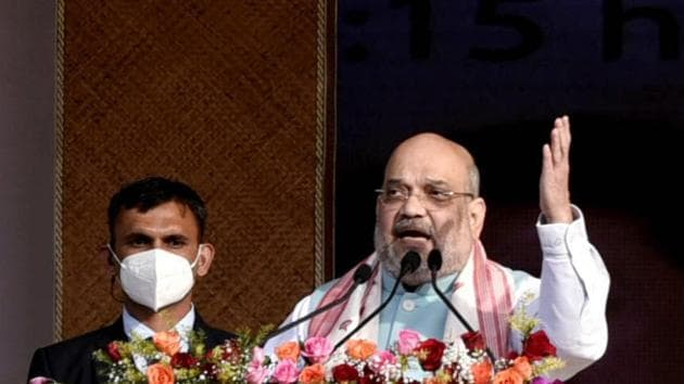 Union home minister Amit Shah during a rally.(ANI)