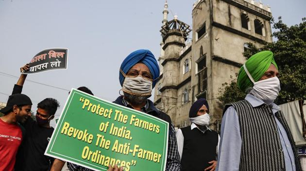 Representatives of different religions walk in a march in support of the ongoing farmers' protest, in Kolkata.(AP)
