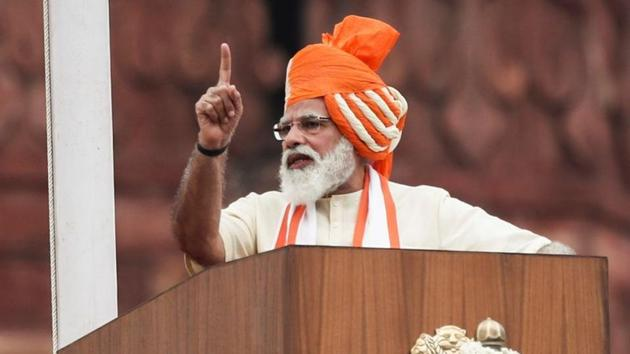Prime Minister Narendra Modi addresses the nation during Independence Day celebrations at the historic Red Fort in Delhi. As per the PM CARES website, ₹3,076.62 crores were collected by the fund in 2019-20.(REUTERS)