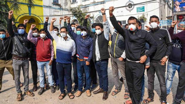 Around 1,000 junior doctors from nine government medical colleges in the state went on an indefinite strike from December 23 in support of their demand of a raise in their monthly stipend.(PTI PHOTO.)