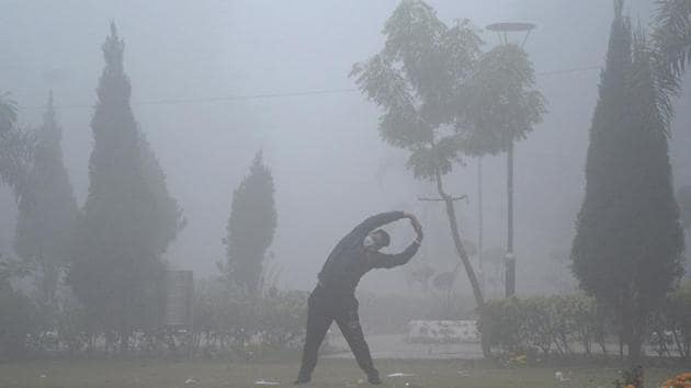 A man exercises in a park amid dense fog in Jalandhar on December 26. Winter may be relatively harsher and longer in north India this year as La Niña, a global weather pattern that has a cooling effect on global weather conditions, has matured and nearly peaked. (PTI)