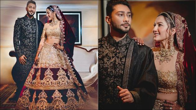 Gauahar-Zaid's graceful reception look is the fashion note to close 2020 on(Instagram/manishmalhotraworld/gauaharkhan)