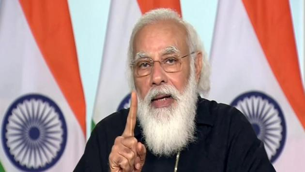 Prime Minister Narendra Modi addresses during a launch of Ayushman Bharat PM-JAY SEHAT to extend coverage to all residents of J&K via video conferencing, in New Delhi on Saturday.(ANI)