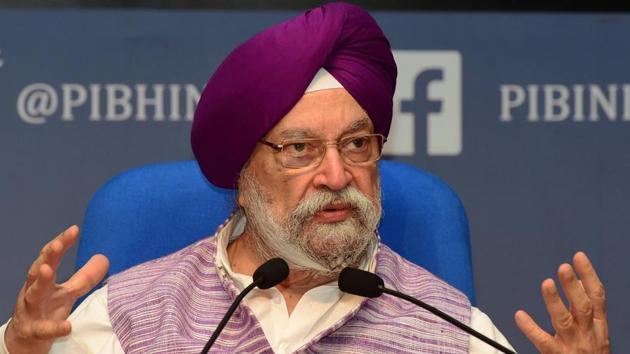 Civil Aviation Minister Hardeep Singh Puri addresses a press conference at National Media Centre, in New Delhi.(PTI)