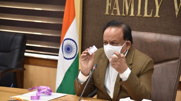 Dr Harsh Vardhan inaugurated India's first indigenous pneumococcal conjugate vaccine (PCV) developed by the Serum Institute of India to treat pneumonia in children.(Twitter/@MoHFW_INDIA)