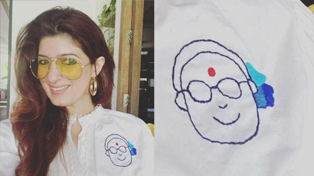 Twinkle Khanna shows off her embroidered shirt.