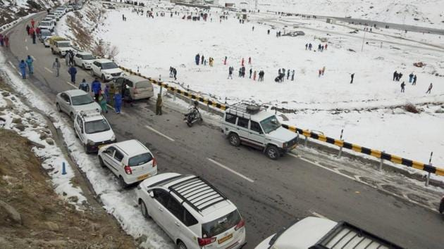 For the first time since it was opened for vehicular traffic, the tunnel witnessed a record single-day inflow of 5,450 vehicles on Sunday.(PTI PHOTO.)