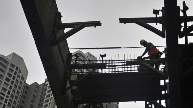 The under-construction Metro line at Goregaon (East) is expected to begin trial runs by March 2021.(HT Photo)