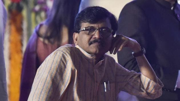 Sanjay Raut sits after the swearing ceremony at Shivaji Park Dadar in Mumbai, India, on Thursday, November 28, 2019.(Anshuman Poyrekar/HT Photo)