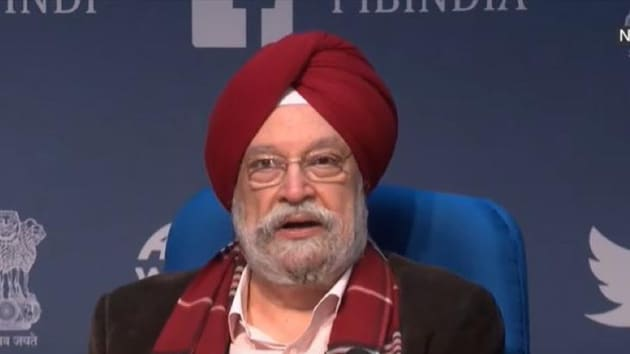 Civil Aviation Minister Hardeep Singh Puri at a press conference on Tuesday.(https://twitter.com/HardeepSPuri)