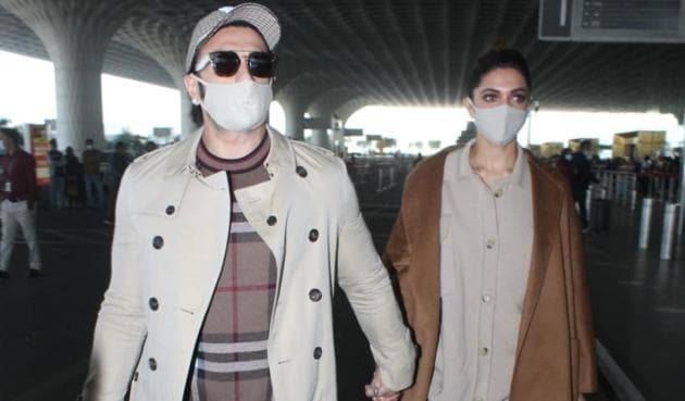 Ranveer Singh and Deepika Padukone at the Mumbai airport on Tuesday morning.(Varinder Chawla)