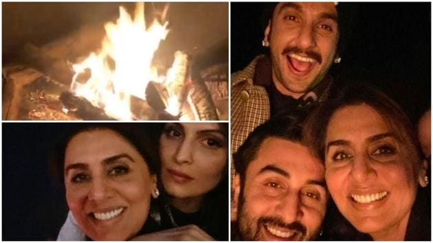 Ranveer Singh and Ranbir Kapoor pose with Neetu Singh in Jaipur.