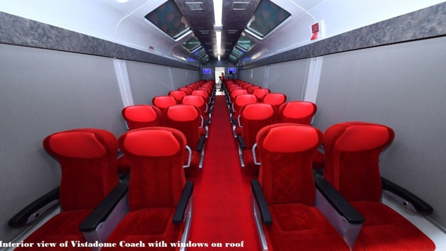 Mostly run on India's tourist and scenic rail routes, the Vistadome coaches are made with see-through glass rooftops and wide windows that offer a panoramic view especially built for the indulgent sightseeing experience.(Twitter/@PiyushGoyal)