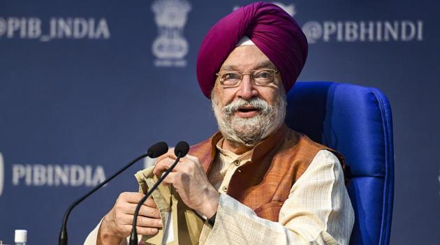 Union Minister for Civil Aviation Hardeep Singh Puri addresses a press conference at National Media Centre, in New Delhi.(PTI)