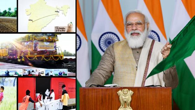 Prime Minister Narendra Modi flags off the 100th Kisan Rail from Sangola in Maharashtra to Shalimar in West Bengal, via video link, in New Delhi.(PIB photo)