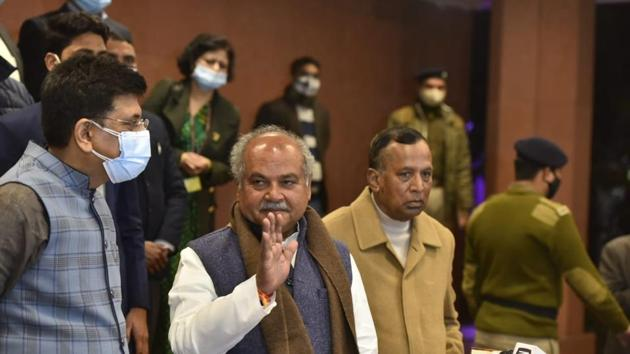 Discussion was positive, Union agriculture minister Narendra Singh Tomar said after sixth round of talks on Wednesday. (Photo: Hindustan Times/Sanjeev Verma)
