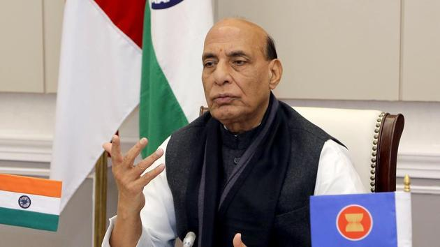 "Union defence minister Rajnath Singh said there is a difference between ""natural marriage"" and forceful religious conversion for marriage.(ANI file photo)"