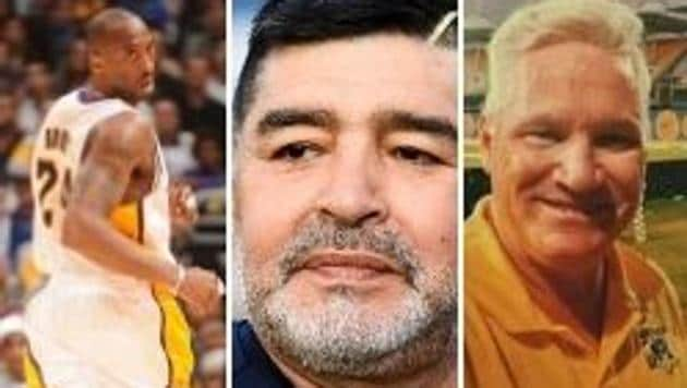 Photos of Kobe Bryant (L), Diego Maradona (Centre) and Dean Jones (R)(HT Collage)
