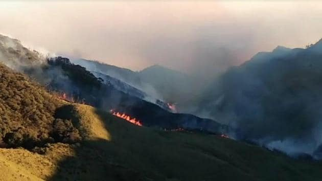 The forest fire that has been raging in the picturesque Dzukou Valley on the Nagaland-Manipur order since Tuesday.(https://twitter.com/NBirenSingh)