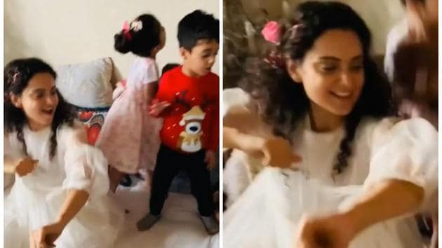 Kangana Ranaut channelling her inner child at the New Year brunch hosted by her.