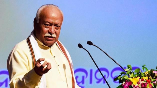 RSS chief Mohan Bhagwat said Hindus can never be anti-India.(PTI)