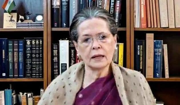 Congress president Sonia Gandhi makes an address via video link.(PTI/Screenshot from video posted by @INCIndia)