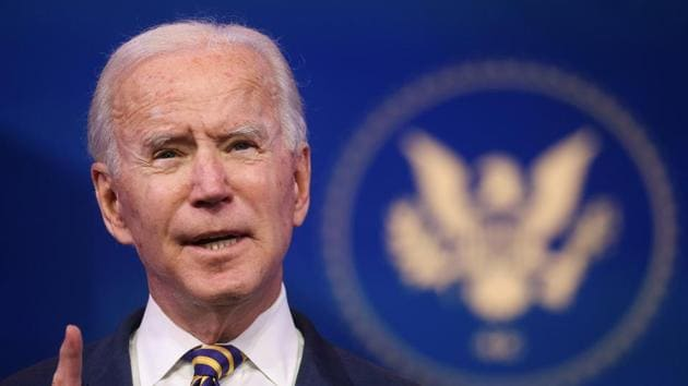 US President-elect Joe Biden delivers remarks at his transition headquarters in Wilmington, Delaware, US.(Reuters)
