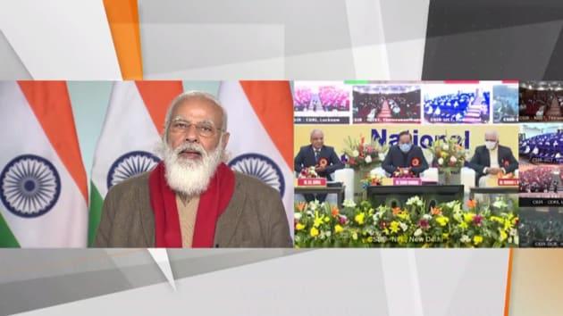 PM Modi also dedicated the National Atomic Timescale, and Bhartiya Nirdeshak Dravya to the nation.(Photo: BJP4India/ Twitter)