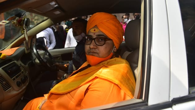 BJP MP Pragya Singh Thakur arrives at the Special NIA Court in Mumbai(Anshuman Poyrekar/HT Photo)