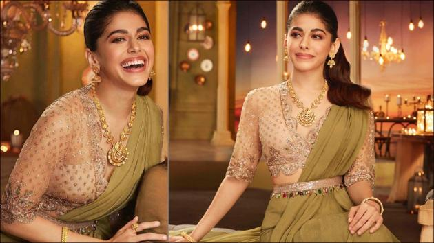 Alaya's luxurious silhouette in Rs 89k draped ruffle saree leaves us smitten(Instagram/ridhimehraofficial)