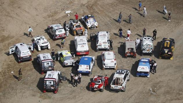 A general view of competitors parked during the prologue on January 2. Launched in 1979 between Paris and the Senegalese capital Dakar, the celebrated endurance challenge moved to Saudi Arabia for the first time last year after a decade in South America, sparking angry reaction from human rights organisations. (Hamad I Mohammed / REUTERS)