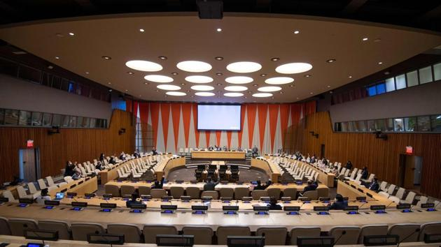 India's term got underway on Monday with a flag installation ceremony, accompanied by the four other countries joining as non-permanent members of the UN Security Council.(AFP/United Nations/Eskinder Debebe)