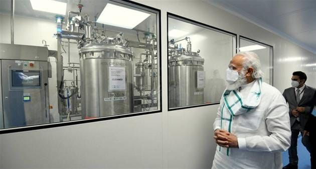 PM Modi had taken a stock of the Serum Institute's vaccine progress in November 2020 last year.(PTI)