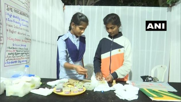 Kalyani, the teacher who guided the students in creating these pads said that she is proud of her students for coming up with the idea of 'Stree Raksha Pads'.(Twitter/@ANI)