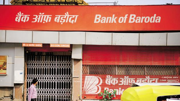 A branch of Bank of Baroda (BoB) is seen in this file photo. Bank of Baroda has announced the launch of banking services on messaging platform WhatsApp.(Mint Photo)