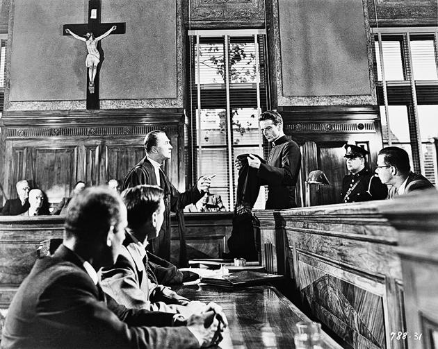 Another taut courtroom drama: A scene from Alfred Hitchcock's 1953 film I Confess, starring Montgomery Clift as Michael Logan and Brian Aherne as Willy Robertson.(Corbis via Getty Images)