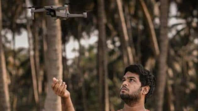 Devang Subil with his drone. (HT Photo)