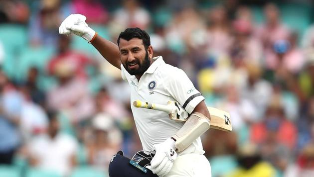 Cheteshwar Pujara of India celebrates after reaching his century during day one of the Fourth Test match in the series between Australia and India at Sydney Cricket Ground on January 03, 2019 in Sydney, Australia.(Getty Images)