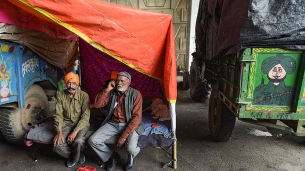 Farmers at Ghazipur, Delhi-UP border in New Delhi, on January 5.(PTI)