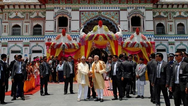 India is looking to revive the religious and cultural heritage of Nepal given the civilizational ties between the two countries. PM Modi had visited the Janaki Mandir in Janakpur, during his 2018 visit.(REUTERS)