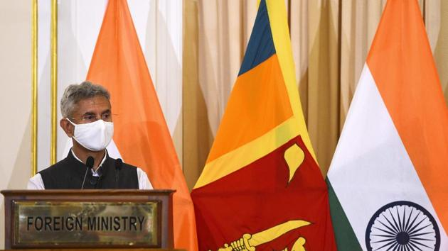 India's Foreign Minister S Jaishankar speaks during a joint press briefing with Sri Lanka's Foreign Minister Dinesh Gunawardena (not pictured) in Colombo on January 6, 2021.(AFP)